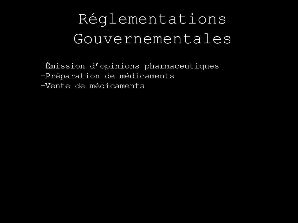 Réglementations Gouvernementales -Émission dopinions pharmaceutiques -Préparation de médicaments -Vente de médicaments