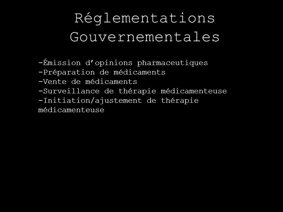 Réglementations Gouvernementales -Émission dopinions pharmaceutiques -Préparation de médicaments -Vente de médicaments -Surveillance de thérapie médic