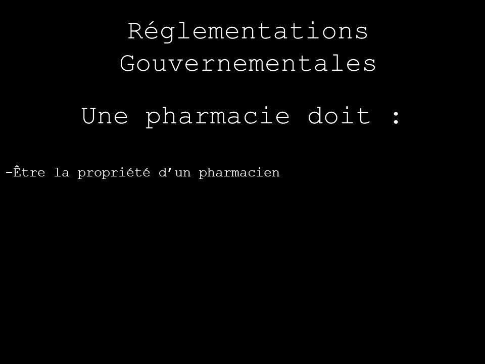 Réglementations Gouvernementales Une pharmacie doit : -Être la propriété dun pharmacien