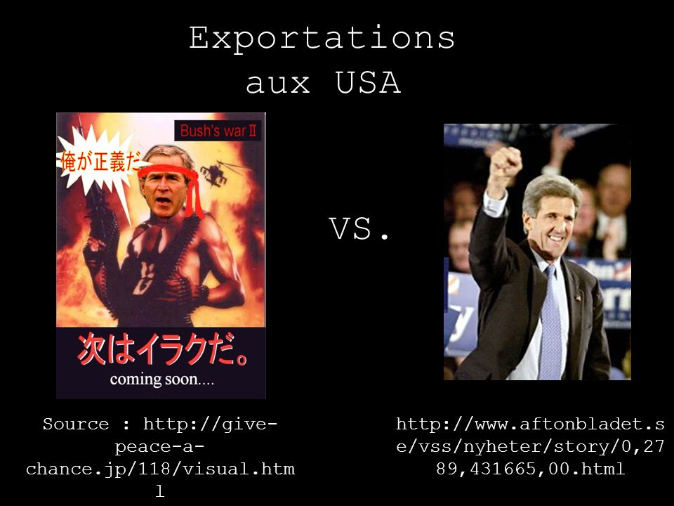 Exportations aux USA Source : http://give- peace-a- chance.jp/118/visual.htm l http://www.aftonbladet.s e/vss/nyheter/story/0,27 89,431665,00.html VS.