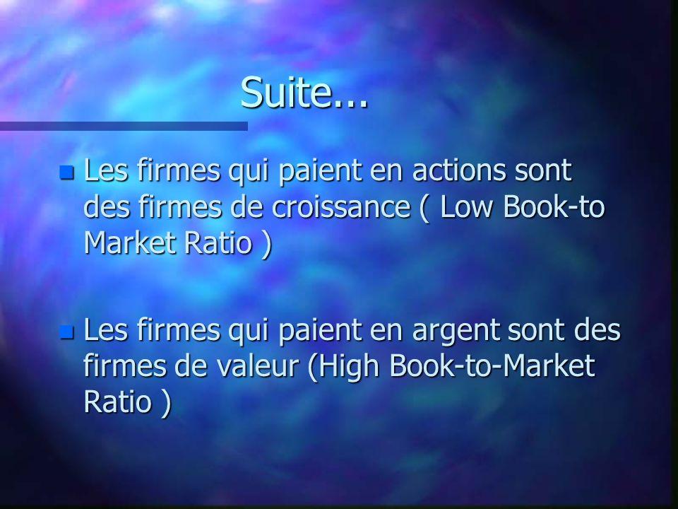 Suite... n Les firmes qui paient en actions sont des firmes de croissance ( Low Book-to Market Ratio ) n Les firmes qui paient en argent sont des firm