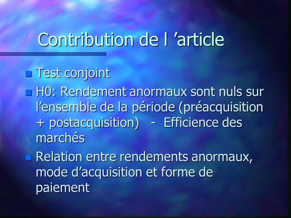 Contribution de l article n Test conjoint n H0: Rendement anormaux sont nuls sur lensemble de la période (préacquisition + postacquisition) - Efficien