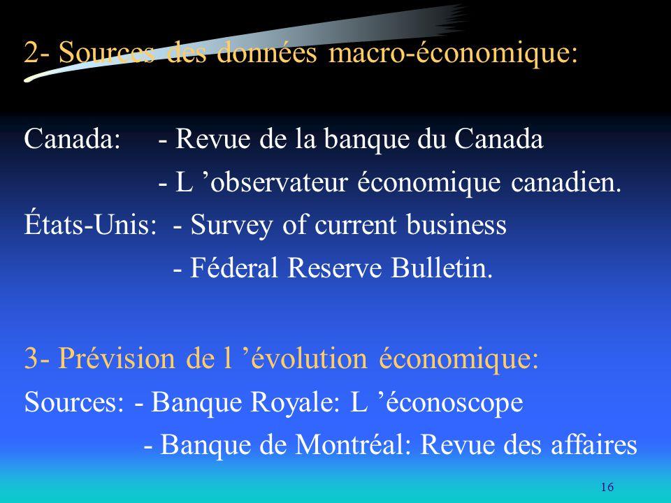 16 2- Sources des données macro-économique: Canada: - Revue de la banque du Canada - L observateur économique canadien. États-Unis: - Survey of curren