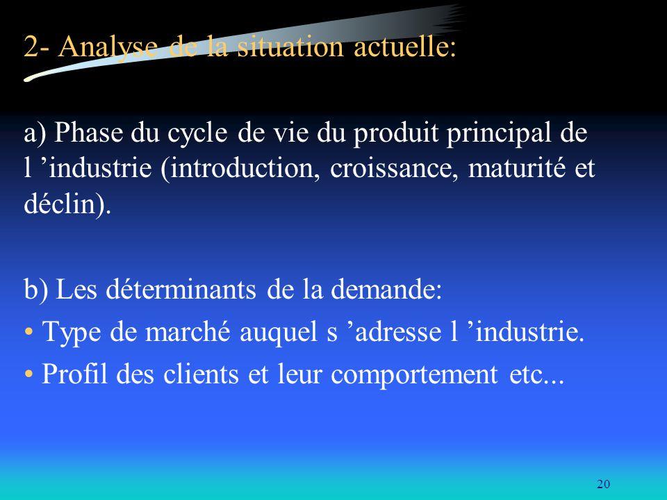 20 2- Analyse de la situation actuelle: a) Phase du cycle de vie du produit principal de l industrie (introduction, croissance, maturité et déclin). b