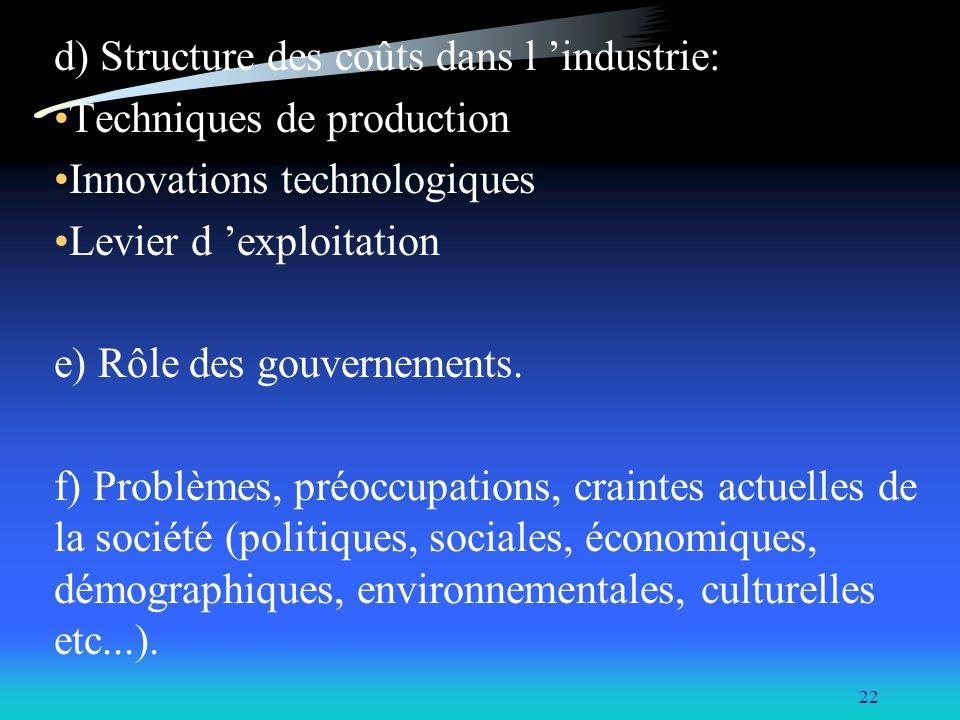 22 d) Structure des coûts dans l industrie: Techniques de production Innovations technologiques Levier d exploitation e) Rôle des gouvernements. f) Pr
