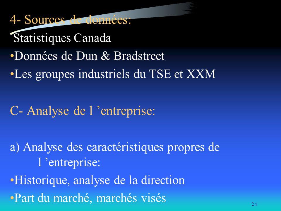 24 4- Sources de données: Statistiques Canada Données de Dun & Bradstreet Les groupes industriels du TSE et XXM C- Analyse de l entreprise: a) Analyse