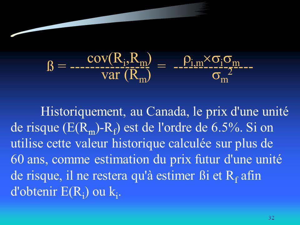 32 cov(R i,R m ) i,m i m ß = ---------------- = ---------------- var (R m ) m 2 Historiquement, au Canada, le prix d'une unité de risque (E(R m )-R f