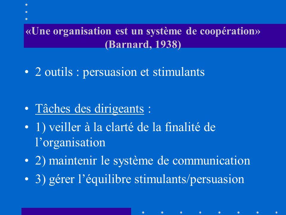 «Une organisation est un système de coopération» (Barnard, 1938) 2 outils : persuasion et stimulants Tâches des dirigeants : 1) veiller à la clarté de