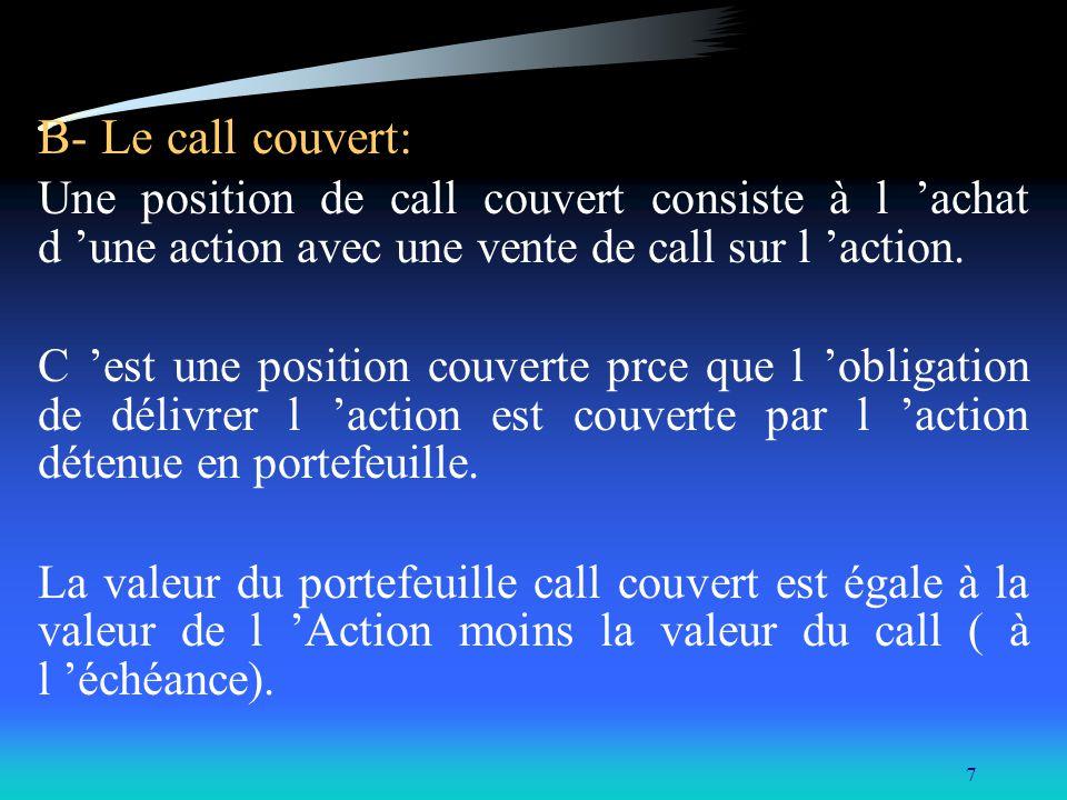 7 B- Le call couvert: Une position de call couvert consiste à l achat d une action avec une vente de call sur l action. C est une position couverte pr