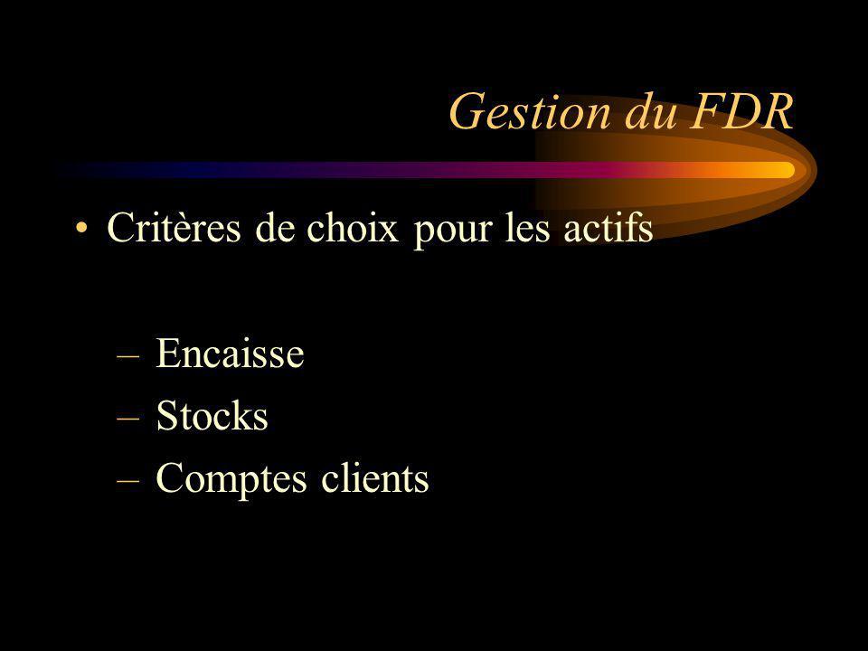 Gestion du FDR Critères de choix pour les actifs – Encaisse – Stocks – Comptes clients