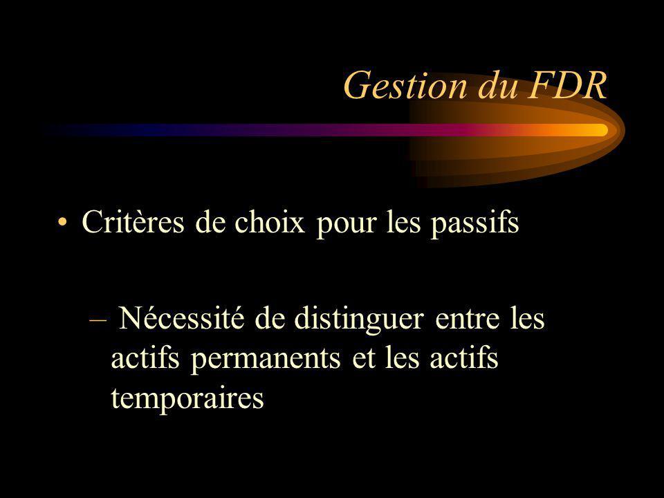 Gestion du FDR Critères de choix pour les passifs – Nécessité de distinguer entre les actifs permanents et les actifs temporaires
