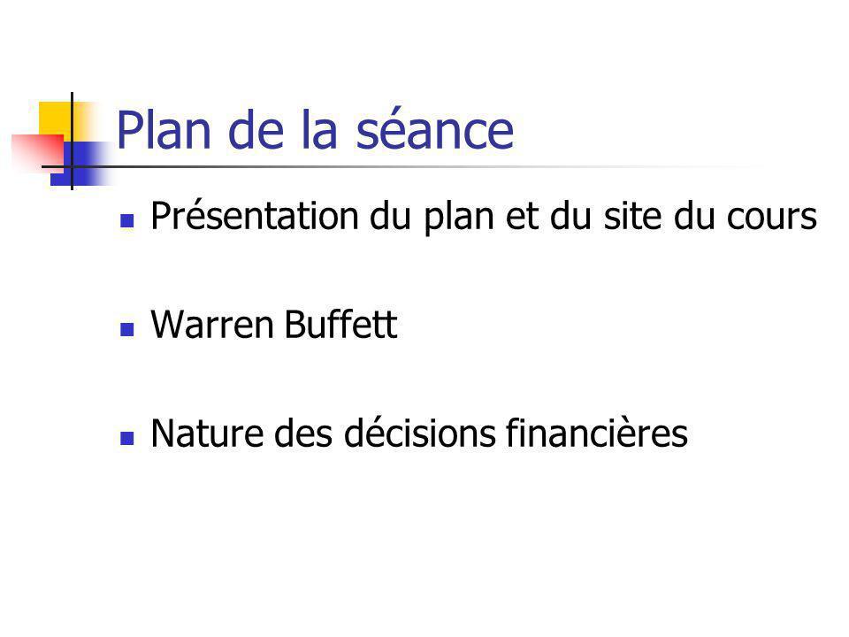Plan de la séance Présentation du plan et du site du cours Warren Buffett Nature des décisions financières