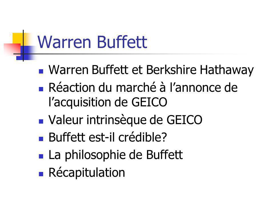 Warren Buffett Warren Buffett et Berkshire Hathaway Réaction du marché à lannonce de lacquisition de GEICO Valeur intrinsèque de GEICO Buffett est-il crédible.