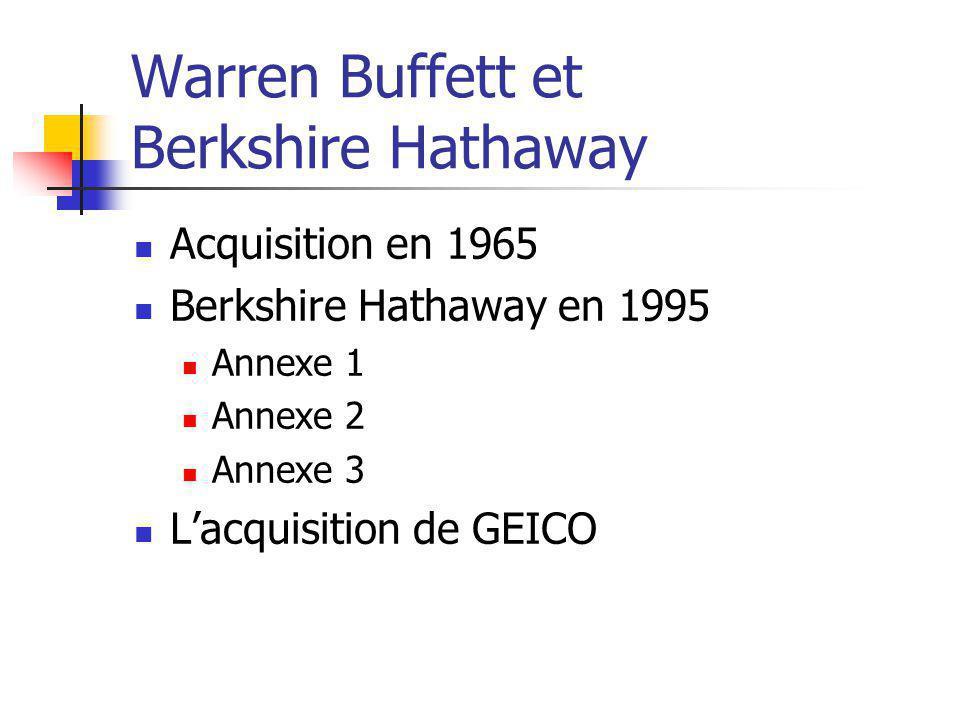 Warren Buffett et Berkshire Hathaway Acquisition en 1965 Berkshire Hathaway en 1995 Annexe 1 Annexe 2 Annexe 3 Lacquisition de GEICO