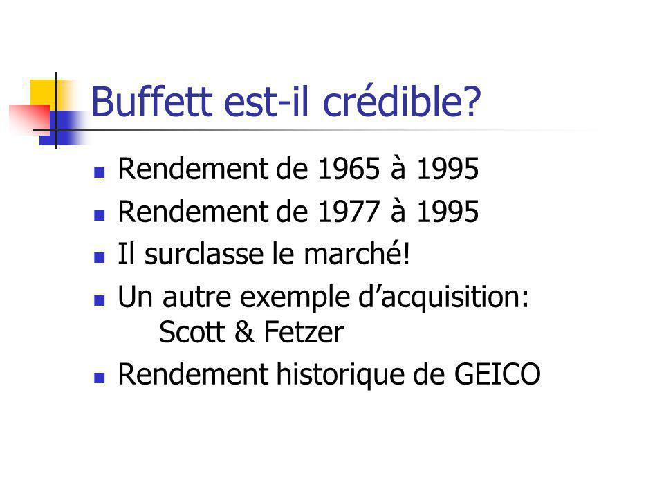 Buffett est-il crédible.Rendement de 1965 à 1995 Rendement de 1977 à 1995 Il surclasse le marché.