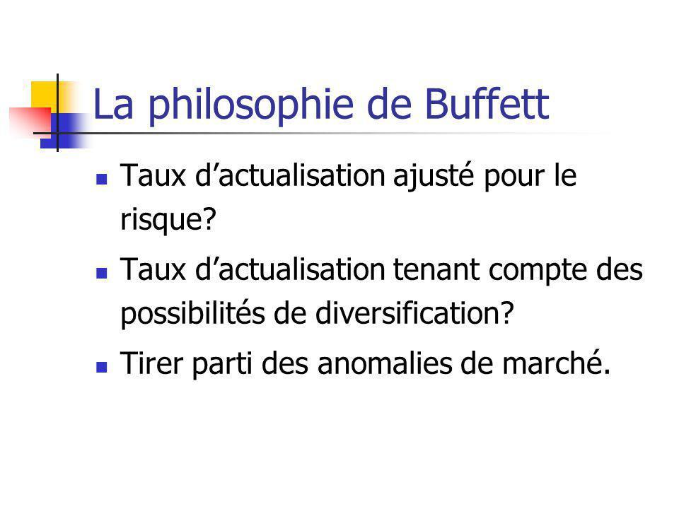 La philosophie de Buffett Taux dactualisation ajusté pour le risque.