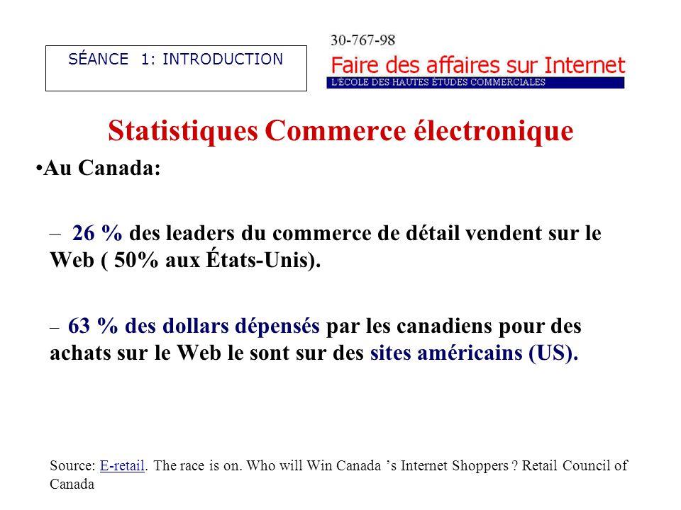 Statistiques Commerce électronique Au Canada: – 26 % des leaders du commerce de détail vendent sur le Web ( 50% aux États-Unis).