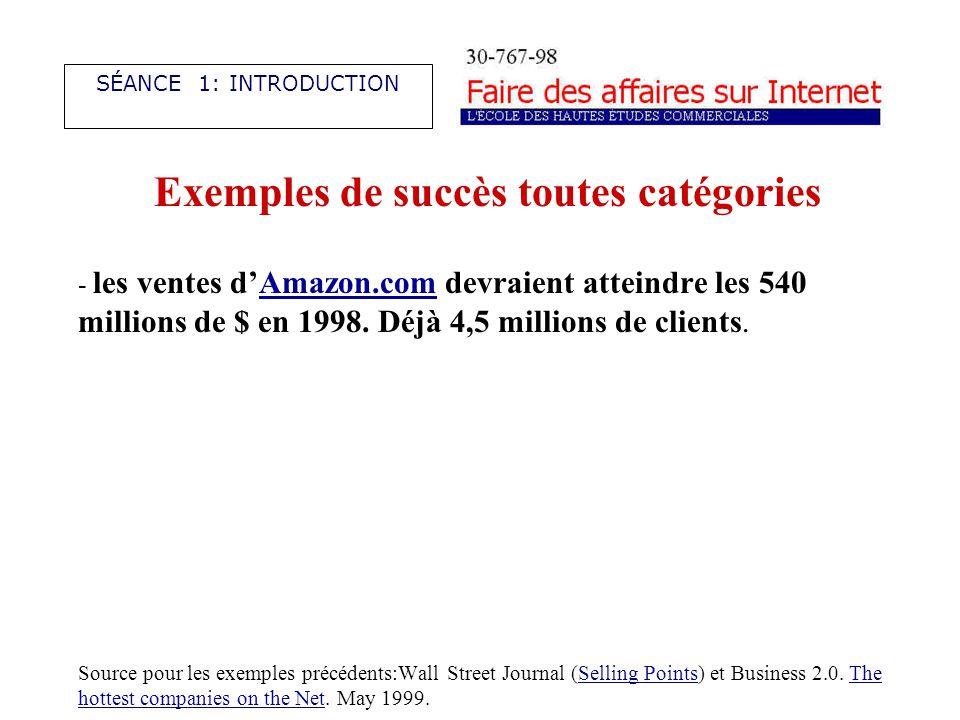 Exemples de succès toutes catégories - les ventes dAmazon.com devraient atteindre les 540 millions de $ en 1998.