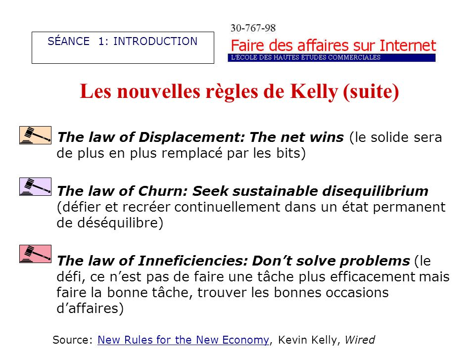 Les nouvelles règles de Kelly (suite) The law of Displacement: The net wins (le solide sera de plus en plus remplacé par les bits) The law of Churn: S