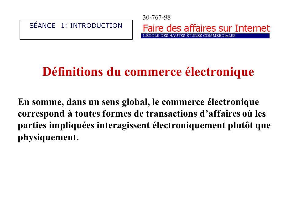 Définitions du commerce électronique En somme, dans un sens global, le commerce électronique correspond à toutes formes de transactions daffaires où les parties impliquées interagissent électroniquement plutôt que physiquement.