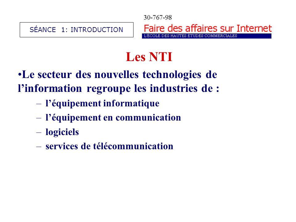 Les NTI Le secteur des nouvelles technologies de linformation regroupe les industries de : –léquipement informatique –léquipement en communication –logiciels –services de télécommunication SÉANCE 1: INTRODUCTION