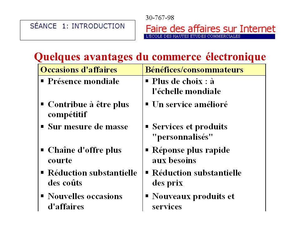 Quelques avantages du commerce électronique SÉANCE 1: INTRODUCTION
