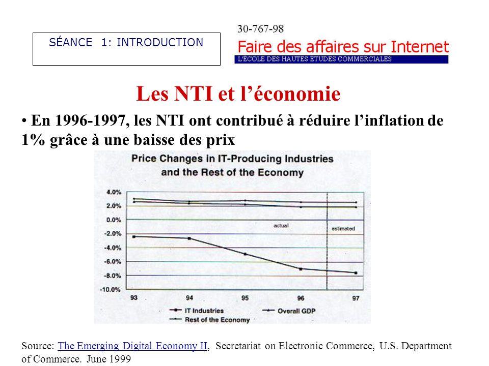 Les NTI et léconomie La contribution des NTI à la croissance dépasse les 25%.