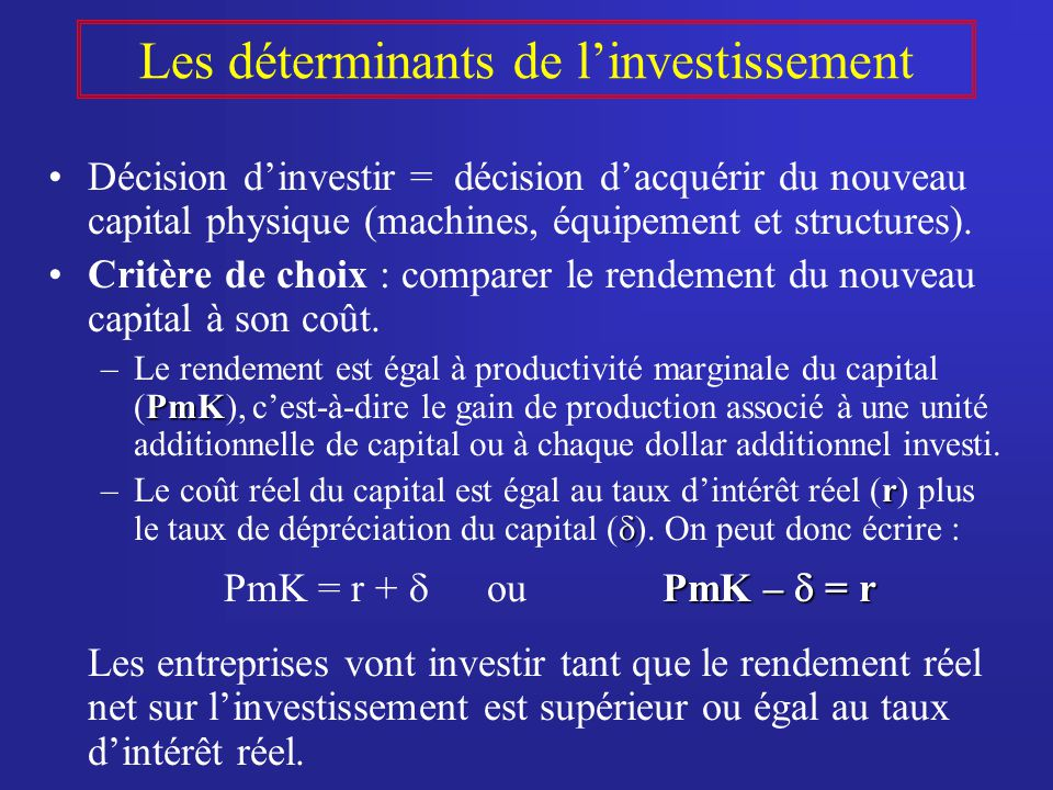 Les déterminants de linvestissement Décision dinvestir = décision dacquérir du nouveau capital physique (machines, équipement et structures).