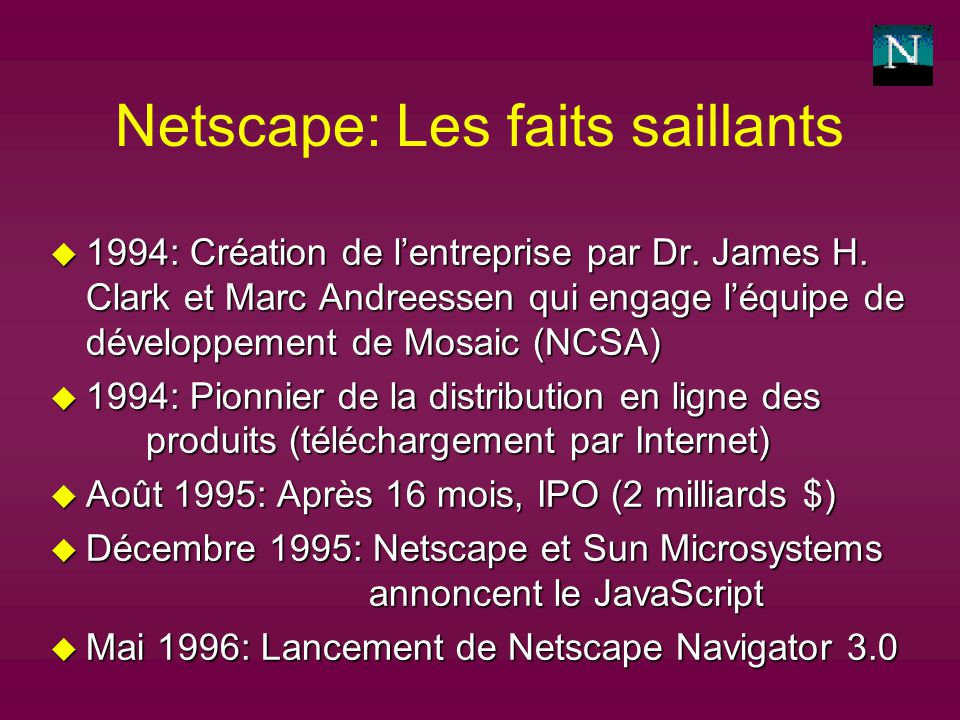 Netscape: Les faits saillants u 1994: Création de lentreprise par Dr.