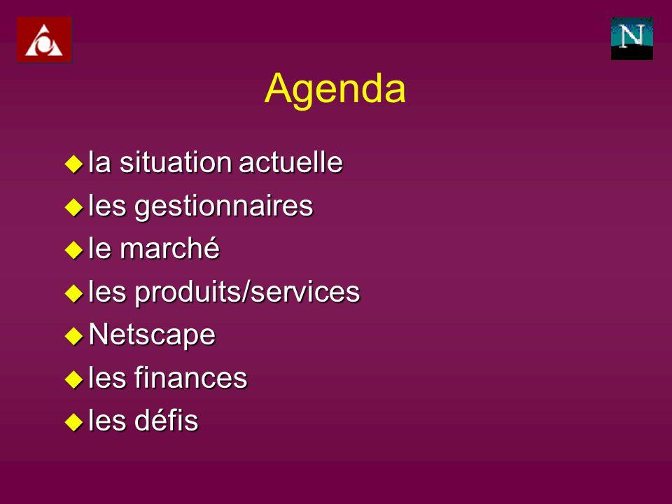 Agenda u la situation actuelle u les gestionnaires u le marché u les produits/services u Netscape u les finances u les défis