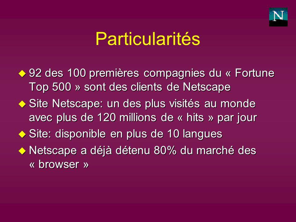 Particularités u 92 des 100 premières compagnies du « Fortune Top 500 » sont des clients de Netscape u Site Netscape: un des plus visités au monde avec plus de 120 millions de « hits » par jour u Site: disponible en plus de 10 langues u Netscape a déjà détenu 80% du marché des « browser »