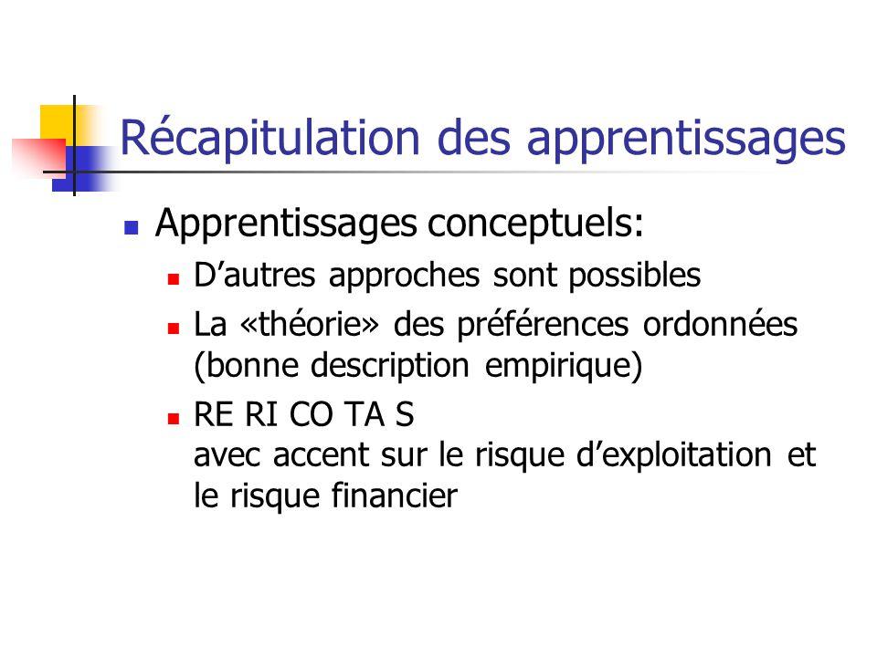 Récapitulation des apprentissages Apprentissages conceptuels: Dautres approches sont possibles La «théorie» des préférences ordonnées (bonne descripti