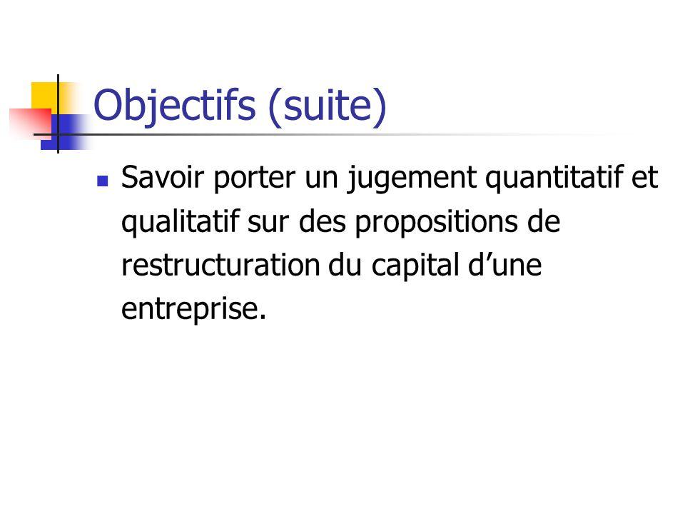Objectifs (suite) Savoir porter un jugement quantitatif et qualitatif sur des propositions de restructuration du capital dune entreprise.