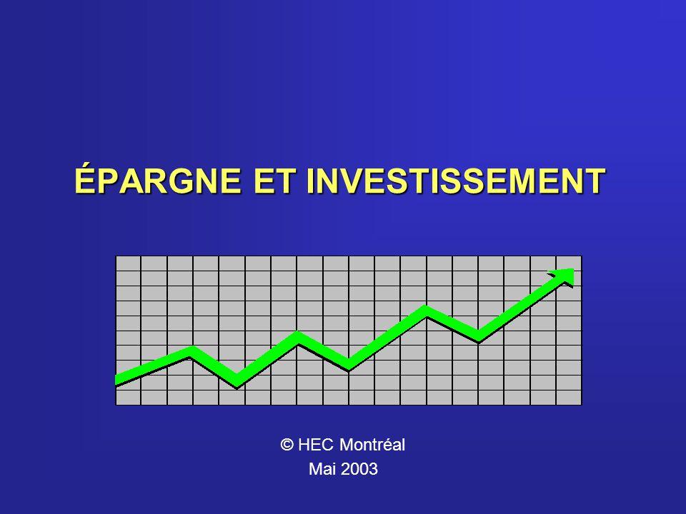 ÉPARGNE ET INVESTISSEMENT © HEC Montréal Mai 2003