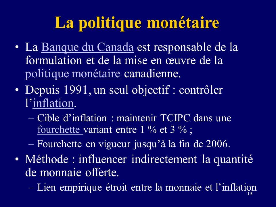 13 La politique monétaire La Banque du Canada est responsable de la formulation et de la mise en œuvre de la politique monétaire canadienne.Banque du