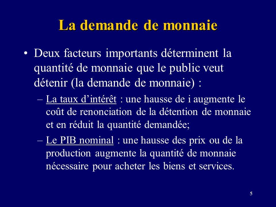 6 DM La demande de monnaie M = Qté de monnaie Taux dintérêt = i Relation négative entre le taux dintérêt et la quantité demandée de monnaie La position de DM dépend de la valeur des transactions à réaliser: P DM (déplacement vers la droite) Y DM (déplacement vers la droite)