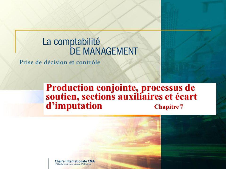 Production conjointe, processus de soutien, sections auxiliaires et écart dimputation Chapitre 7