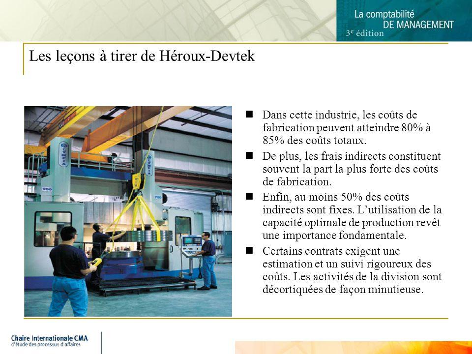 8 Les leçons à tirer de Héroux-Devtek Dans cette industrie, les coûts de fabrication peuvent atteindre 80% à 85% des coûts totaux.