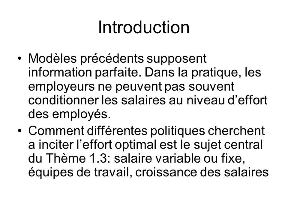Introduction Modèles précédents supposent information parfaite. Dans la pratique, les employeurs ne peuvent pas souvent conditionner les salaires au n