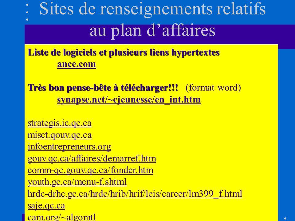Logiciels à létude (suite) MYOB, Quickbook ou Simple comptable Excel Budget 2000 Budget Maestro Fin Pro Sitweb Business Plan Pro (démo) FinSoft et Banque Nationale du Canada (démo)