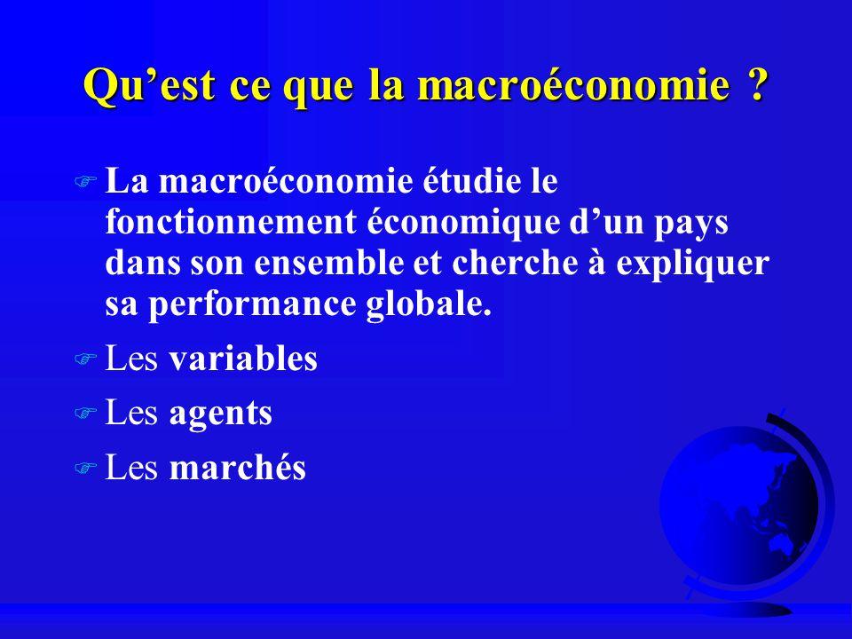 Quest ce que la macroéconomie ? F La macroéconomie étudie le fonctionnement économique dun pays dans son ensemble et cherche à expliquer sa performanc