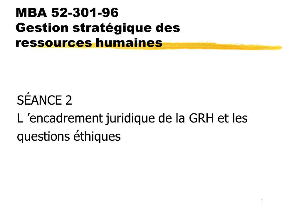 1 MBA 52-301-96 Gestion stratégique des ressources humaines SÉANCE 2 L encadrement juridique de la GRH et les questions éthiques