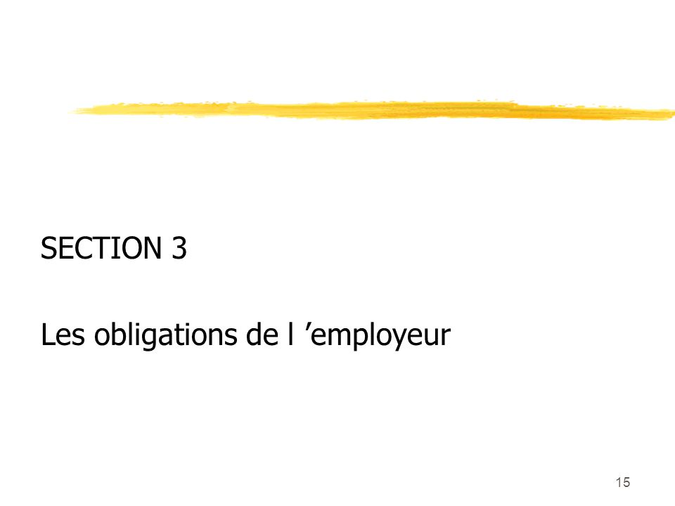 15 SECTION 3 Les obligations de l employeur