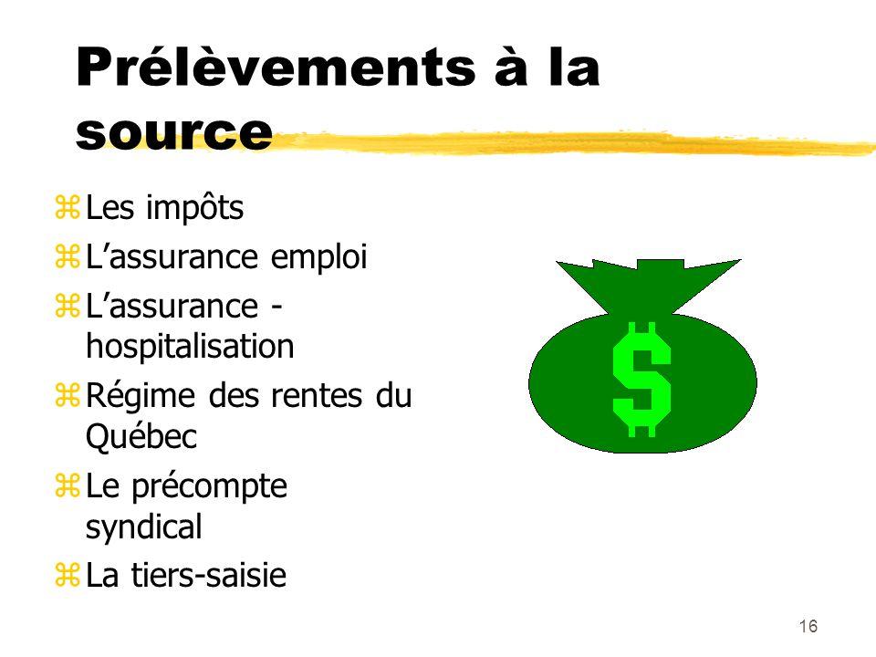 16 Prélèvements à la source zLes impôts zLassurance emploi zLassurance - hospitalisation zRégime des rentes du Québec zLe précompte syndical zLa tiers-saisie