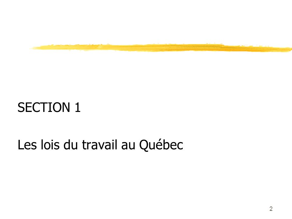 2 SECTION 1 Les lois du travail au Québec