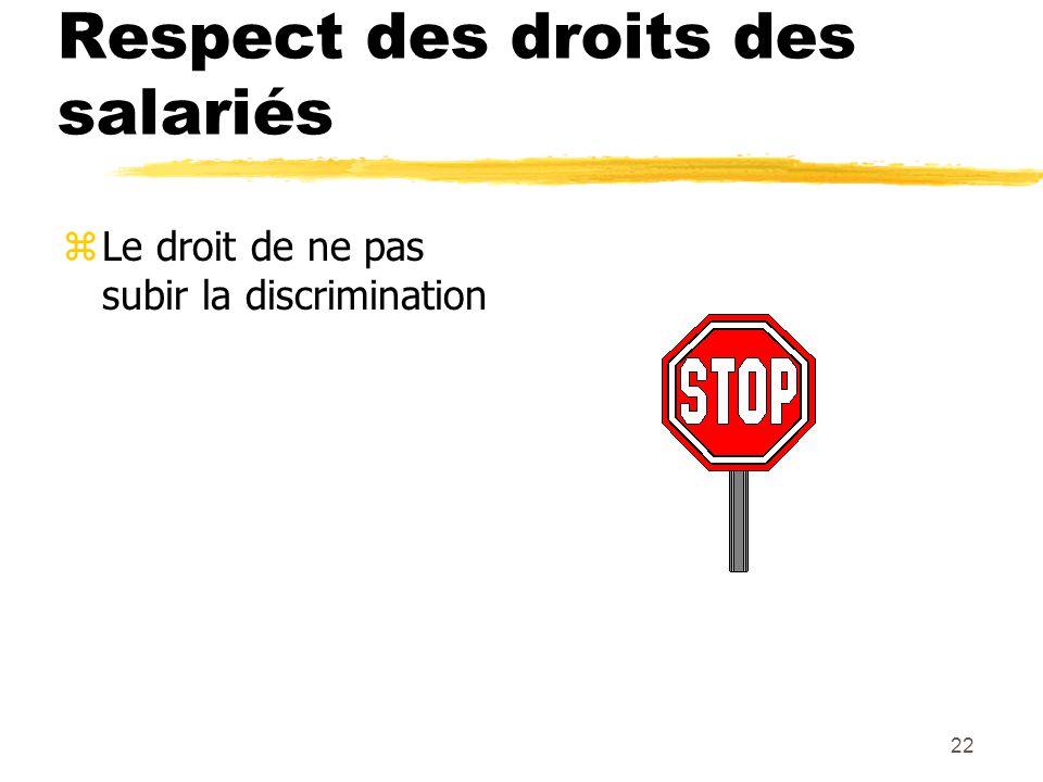 22 Respect des droits des salariés zLe droit de ne pas subir la discrimination