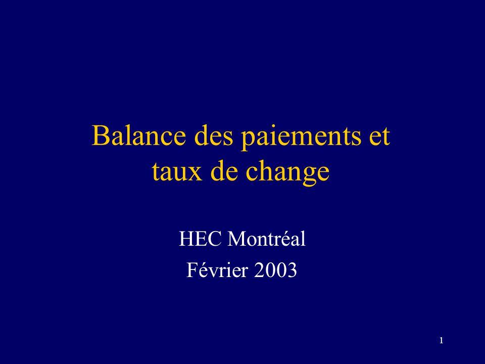 2 Balance des paiements Enregistre la valeur des transactions entre résidents canadiens et non-résidents BP = CC + CCF –BP : balance des paiements –CC : compte courant –CCF : compte capital et financier Comptes consolidés