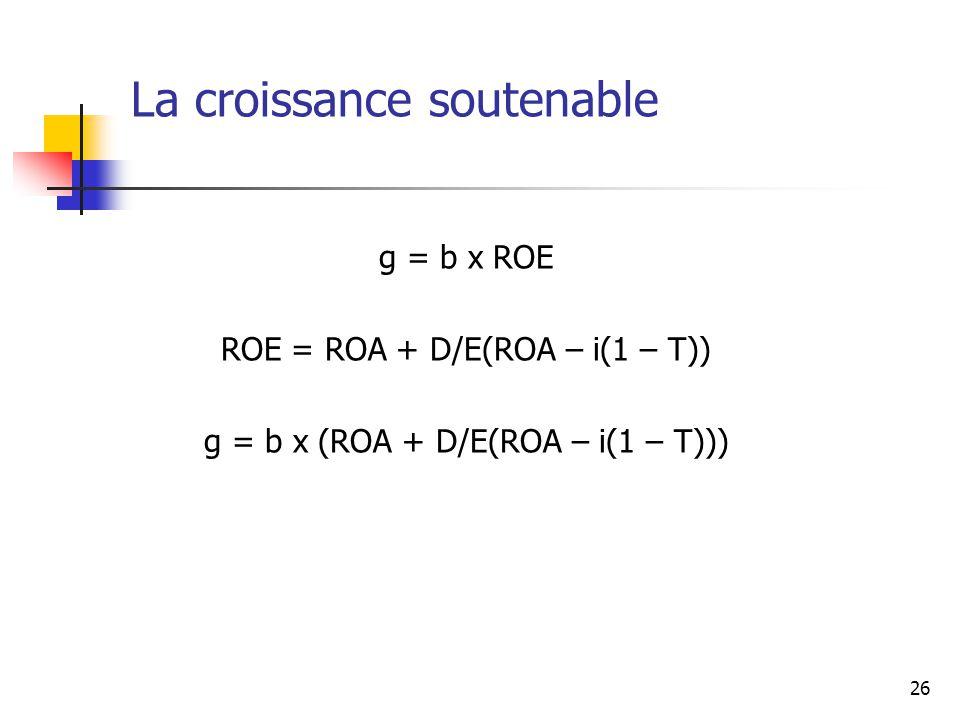 26 La croissance soutenable g = b x ROE ROE = ROA + D/E(ROA – i(1 – T)) g = b x (ROA + D/E(ROA – i(1 – T)))