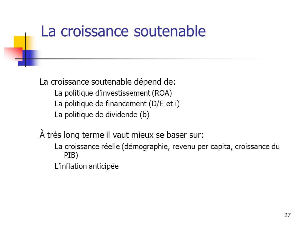 27 La croissance soutenable La croissance soutenable dépend de: La politique dinvestissement (ROA) La politique de financement (D/E et i) La politique