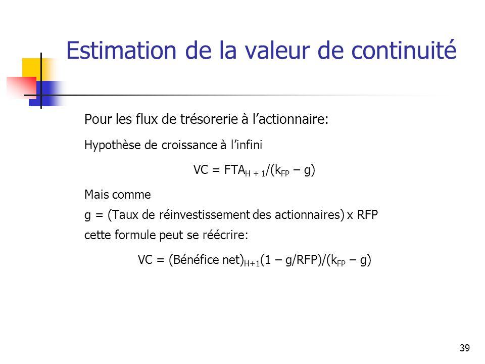39 Estimation de la valeur de continuité Pour les flux de trésorerie à lactionnaire: Hypothèse de croissance à linfini VC = FTA H + 1 /(k FP – g) Mais